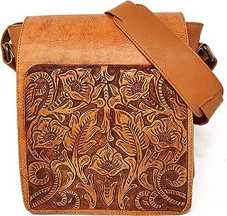 Juno Vintage Floral Artisan Leather Handmade Adjustable Messenger Crossbody Handbag Gift for Women