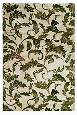 Linon Home Decor Products Griffin Amore Rug, Red Leaf