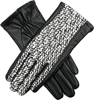 Dents Women's Leather Gloves With Boucle Fabric Detail