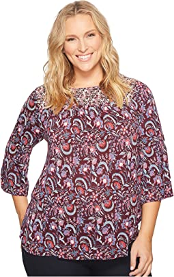 Plus Size Mixed Print Smocked Top