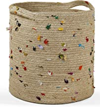 Deys Living Woven Storage Jute Basket   Sparkling Design Hamper for Living Room Magazines  Laundry  Blanket  Throws  Baby Nursery Hamper & Toy  Deco Indoor Planter  Bins