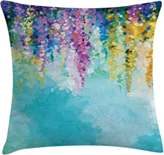 Ambesonne Flower Throw Pillow Cushion Cover, Abstract Ivy Romantic and Landscape Spring Floral Artwork Nature Theme, Decorative Square Accent Pillow Case, 20