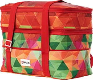 """Casserole Carrier and Lasagna Lugger - Fits Two 11""""x14"""" or 9""""x13"""" Baking Dish - Double Decker Thermal Tote and Hot Food Carrier – Expandable Insulated Food Bag for Potluck Parties, Cookouts, Picnics"""