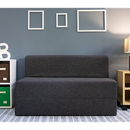 Uberlyfe 2 Seater Sofa Cum Bed - Perfect for Guests - Jute Fabric Washable Cover - Dark Grey  4' X 6' Feet(SCB-001732-BK_C)