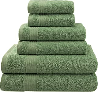 AmericanVeteranTowel Hotel & Spa Quality Super Absorbent and Soft, Cotton, 6 Piece Turkish Towel Set for Kitchen and Decorative Bathroom, Includes 2 Bath Towels 2 Hand Towels 2 Washcloths Green