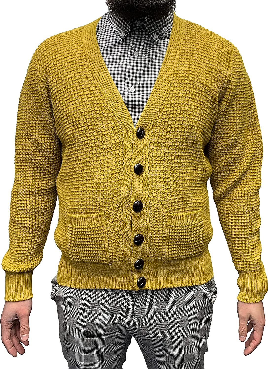 Relco Mens Waffle お買い得品 Knit オープニング 大放出セール Cardigan Button 60s Retro