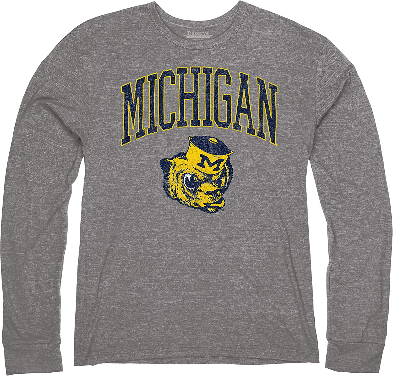 Reserve Collection by Blue 84 NCAA mens Vintage Tri-Blend Long Sleeve Vault T Shirt