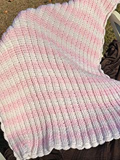Pale Pink and White Textured Baby Afghan