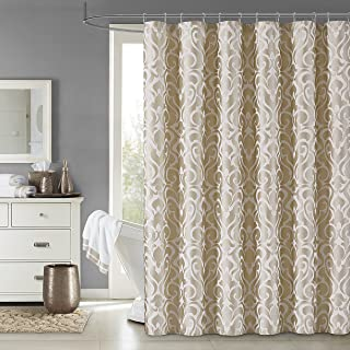 Five Queens Court Leo Woven Jacquard Shower Curtain Gold