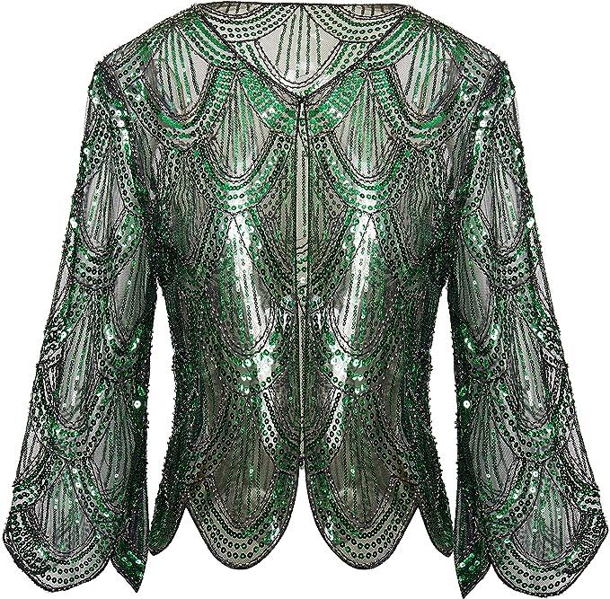 1920s Shawls, Scarves and Evening Jacket Tips BABEYOND 1920s Sequin Shawl Wraps Gatsby Beaded Evening Cape Bridal Bolero Shrug  AT vintagedancer.com