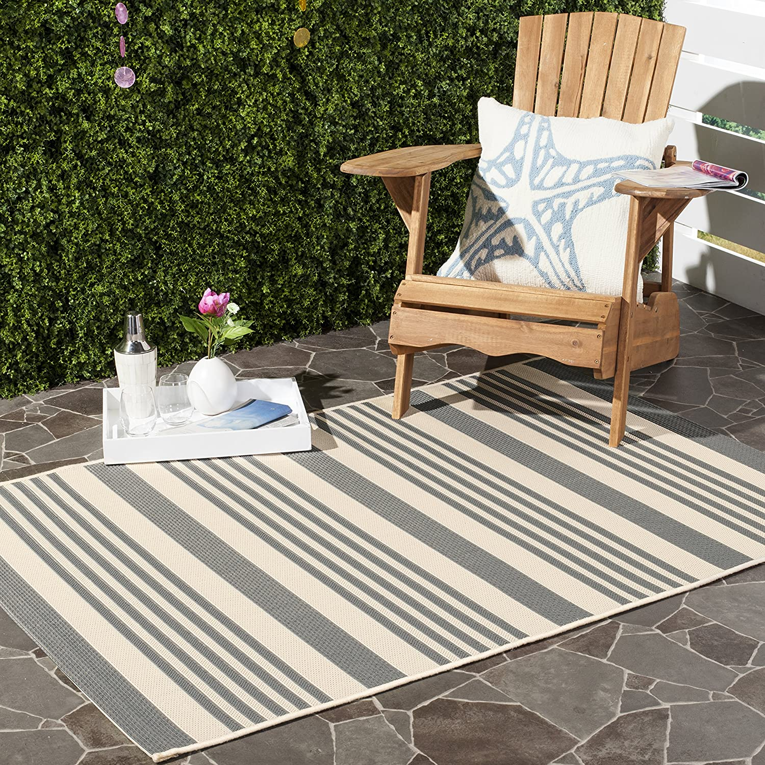 Safavieh Courtyard Collection CY6062236 Grey and Bone Indoor Outdoor Area Rug, 2 feet by 3 feet 7 inches (2' x 3'7 )