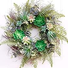 Dseap Wreath: 22-Inch Succulent Wreath, Door Wreath for Front Door, Green
