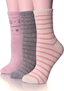 Womens Thick Cotton Socks Soft Warm Crew Winter Cold Weather Socks 3 Pack