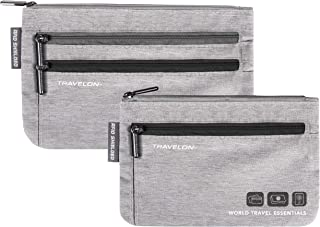 Travelon RFID Blocking Travel Zip Pouch, Gray Heather, One Size