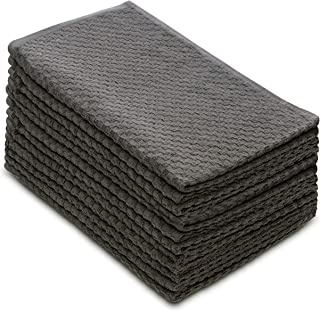 COTTON CRAFT - 12 Pack - Euro Cafe Waffle Weave Terry Kitchen Towels - 16x28 Inches - Charcoal - 400 GSM Quality - 100% Ringspun 2 Ply Cotton - Highly Absorbent Low Lint - Multi Purpose
