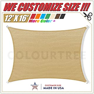 ColourTree 12' x 16' Sand Beige Sun Shade Sail Rectangle Canopy Awning Fabric Cloth Screen - UV Block UV Resistant Heavy Duty Commercial Grade - Outdoor Patio Carport - (We Make Custom Size)