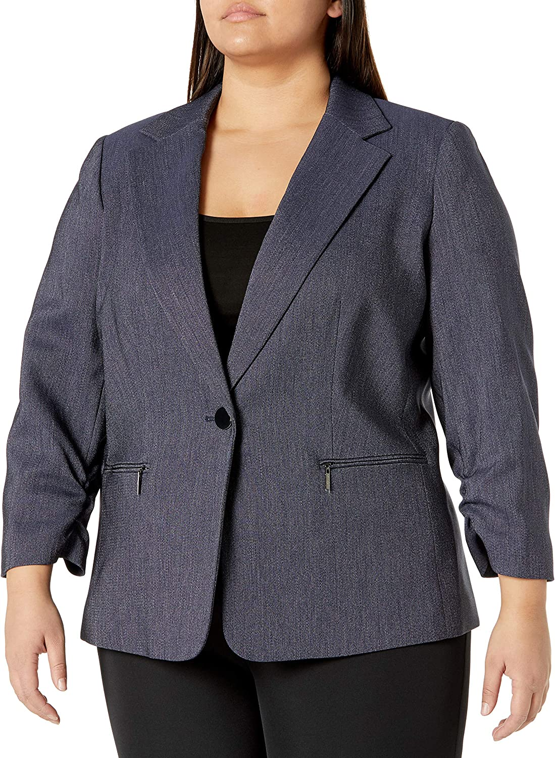 Kasper Women's Plus Size Notch Collar Denim Jacket with Zip Pocket and Ruched Sleeves