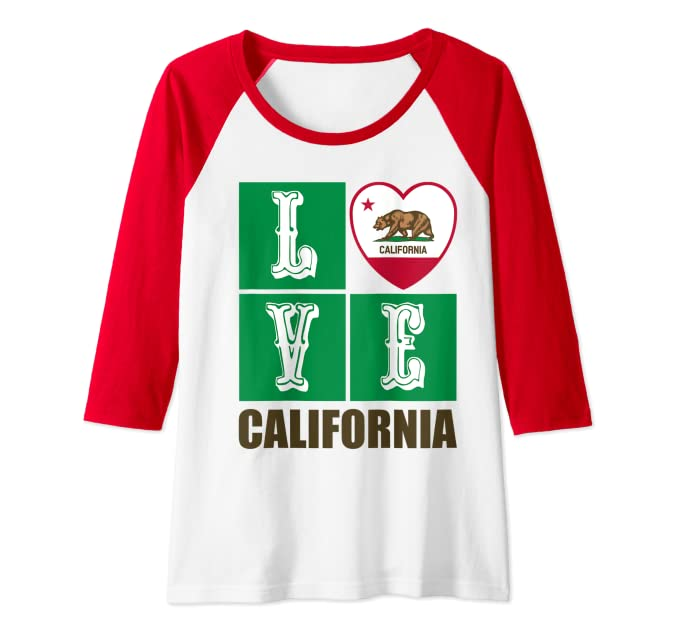 California Republic Golden State Flag Heart Grizzly Bear Souvenir Raglan Baseball Tee