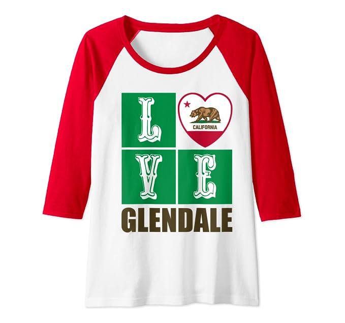 California Republic State Flag Heart Cali Love Glendale Raglan Baseball Tee