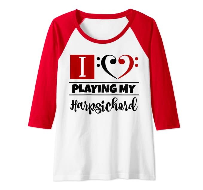 Double Bass Clef Heart I Love Playing My Harpsichord Musical Raglan Baseball Tee