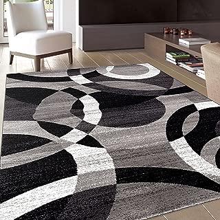 Contemporary Modern Circles Gray Area Rug Abstract 7' 10