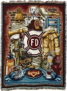 Pure Country Weavers Firefighter Fireman Pride WovenThrow Blanket Large Soft Comforting with Artistic Textured Design 100% Cotton Made in USA 72x54