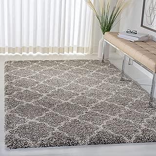 Safavieh Hudson Shag Collection Grey and Ivory Moroccan Geometric Quatrefoil Area Rug (8' x 10')