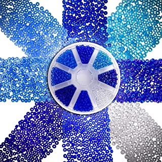Over 2000 Czech Blue Sea Glass Seed Beads 6/0 for Jewelry Making Supplies for Adults - Blue Colors Czech Glass Beads for Bracelets, Necklaces, Crafts and DIY - 8 Color Bead Kit
