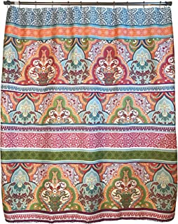 Blue Pink Green Boho Fabric Shower Curtain: Floral Damask with Geometric Border Design, Multi Colored, 70
