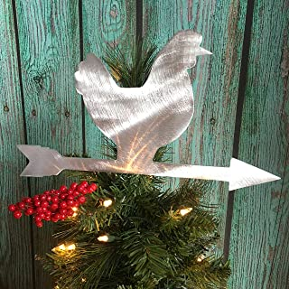 PT Hudson Alumi-Art Chicken Weathervane Christmas Tree Topper, Rustic, Country Christmas, Wreath Decoration, Holiday Decoration, Metal