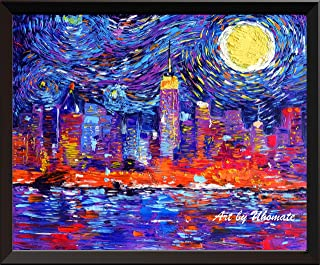 Uhomate New York City Skyline NYC Skyline Vincent Van Gogh Starry Night Posters Home Canvas Wall Art Anniversary Gifts Baby Gift Nursery Decor Living Room Wall Decor A065 (8X10)