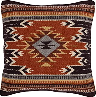 El Paso Designs Throw Pillow Covers 18 X 18- Hand Woven Wool in Southwest, Mexican, and Native American Styles- Hand Crafted Western Decorative Pillow Cases in Wool. (Tampico)