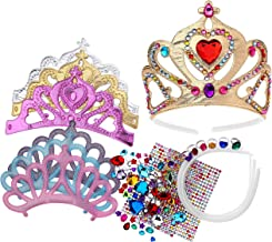 Foam Princess Tiaras and Crowns, Making Your Own Tiaras with Rhinestone stickers, Princess Party Favors for Kids (pack of 6)