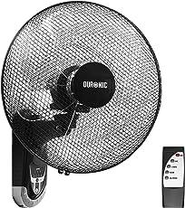 Duronic FN55 Ventilateur Mural oscillant de 60W – 5 Pâles de 40 cm - Télécommande/Minuterie / 3 Vitesses – Moteur Puissant et Silencieux – Support Mural Coulissant montable démontable à la volée