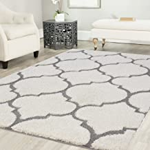 Mod-Arte | Platinum Shag Collection | Plush Area Rug | Modern Contemporary Style | White & Grey | 7'10
