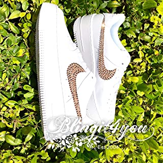 HANDMADE Beedazzled Swarovski crystal Bling NIKE Swooshes Logo for Women White Nike Air Force 1 Sage low Shoes