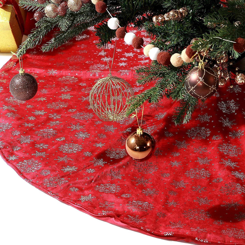 Berkshire Blanket Christmas Tree 人気ブレゼント Skirt Inches 激安通販専門店 Red 56 Metallic