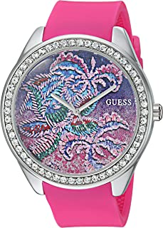 GUESS Women's Stainless Steel Quartz Watch with Silicone Strap, Pink, 19 (Model: U0960L1)