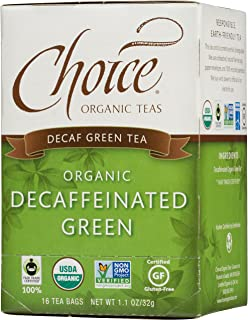 Choice Organic Teas Green Tea, Decaffeinated Green, 16 Count
