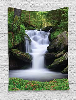 Ambesonne Waterfall Tapestry, Dream Like Image of Waterfall with Trees and Flowers in Forest Mother Nature, Wall Hanging for Bedroom Living Room Dorm, 60