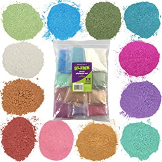 Maddie Rae's Slime Pearl Pigment Powder Extra Large 28g Packs - 12 Mica Powder Colors - Great for Slime, Soap Making, Candle Making, Bath Bomb Dye Colorant