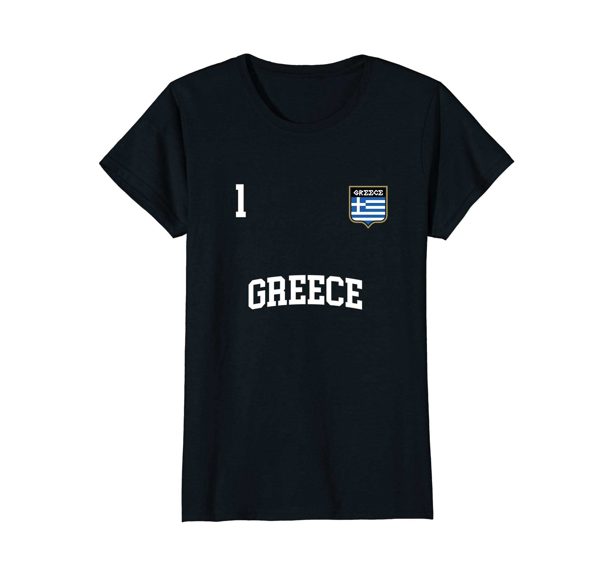 Amazon.com  GREECE T-shirt No. 1 Greek Flag Football Soccer Team ... b94ca609e3