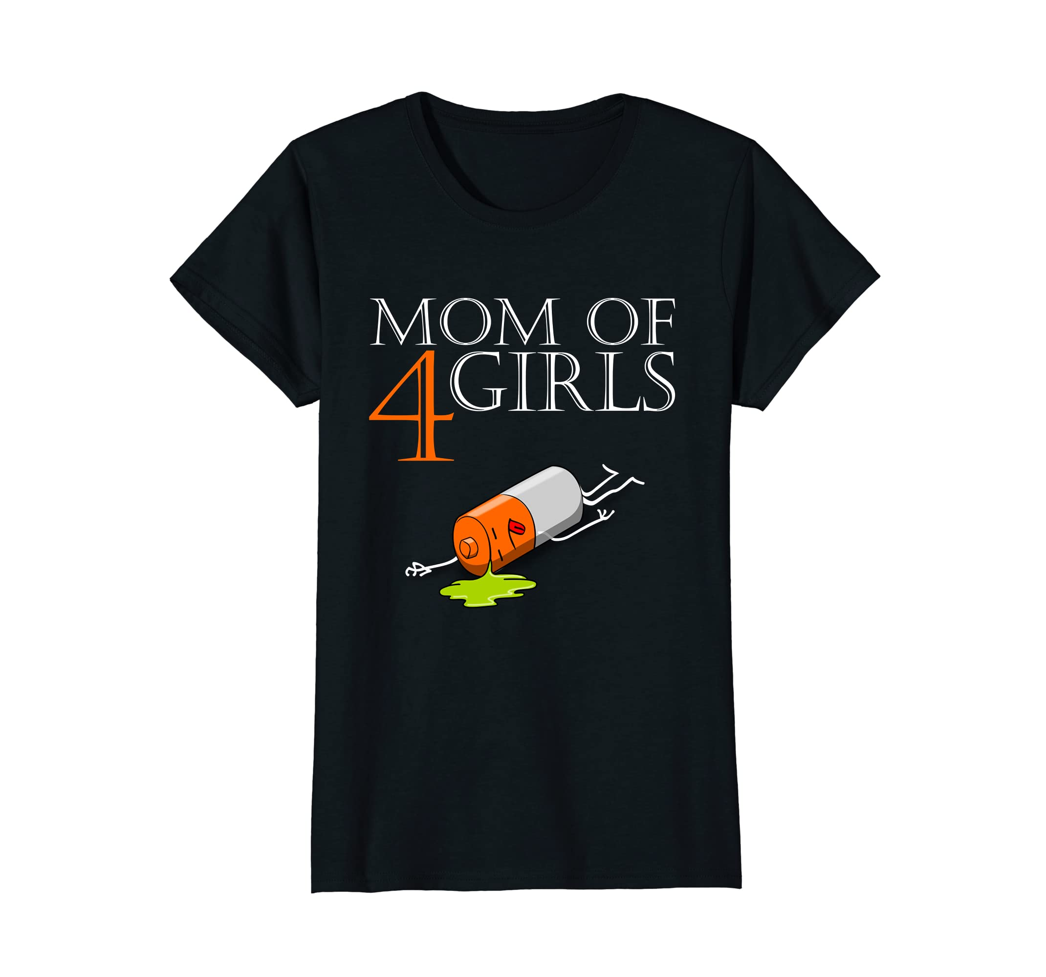 Womens mom of 4 girls - Funky Shirt for mothers with four daughters-ah my shirt one gift