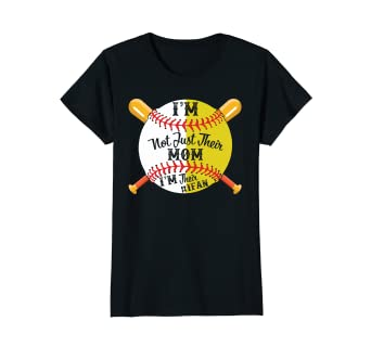 153791b8 Image Unavailable. Image not available for. Color: Womens I'm Their Number  1 Fan Softball Baseball Mom T-shirt