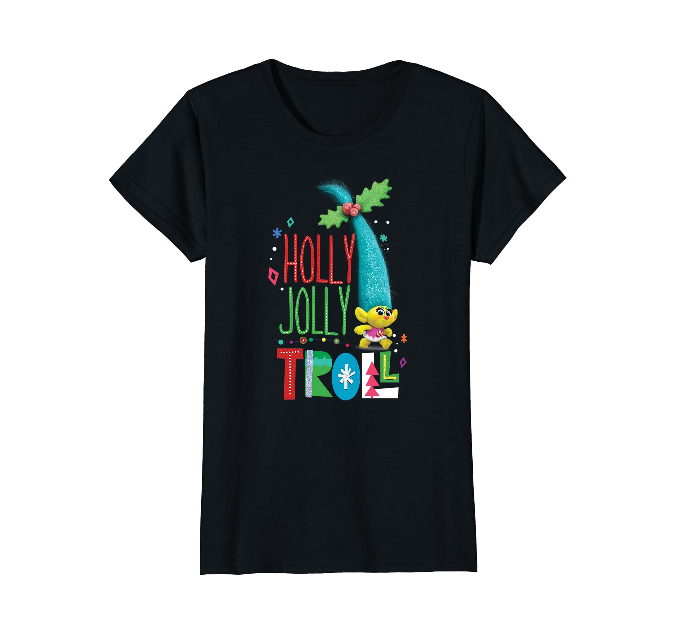 d664f844e Amazon.com: DreamWorks' Trolls Holly Jolly Troll Holiday T-Shirt: Clothing