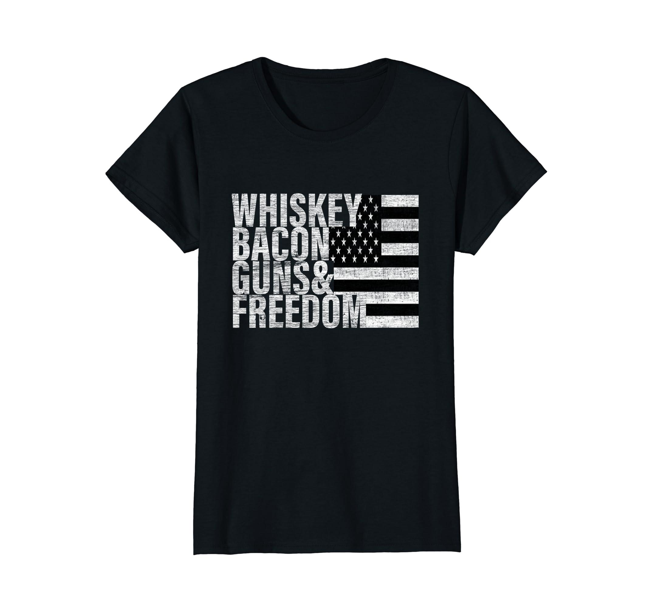 Amazon.com: Whiskey Bacon Guns & Freedom T-shirt Flag Tee: Clothing