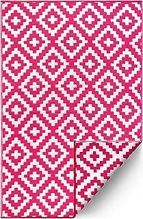 FH Home Indoor/Outdoor Recycled Plastic Floor Mat/Rug - Reversible - Weather & UV Resistant - Aztec - Pink (6 ft x 9 ft)