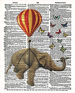 Elephant Hot Air Balloon Butterflies Vintage Dictionary Style Art Print   Unframed   8.5 x 11