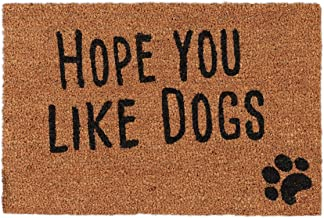 Relaxdays Doormat with Slogan, Hope You Like Dogs, Animal Theme, Coconut Fibres, Outdoors, Indoors, Welcome Mat 40x60cm, N...
