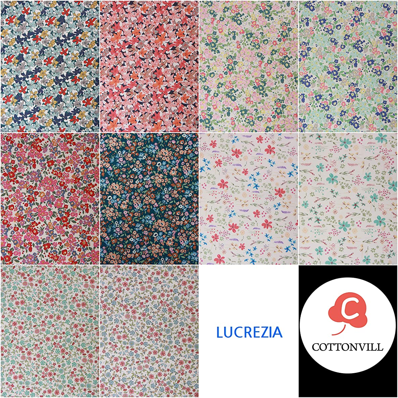 COTTONVILL Fat Quarter Bundle 10pcs Beautiful Flowers Pattern Quilting Fabric (Lucrezia)